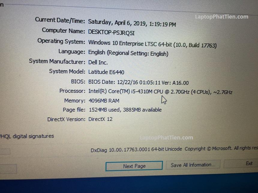 Laptop dell E6440 cũ giá rẻ tphcm